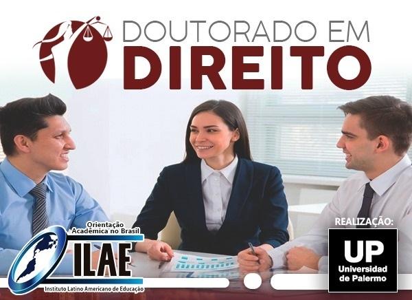 Dois homens e uma mulher sorriem em banner sobre Doutorado em Direito da Instituto Latino Americano de Educação